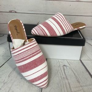 Qupid 6.5 red white stripe slides mules sandals